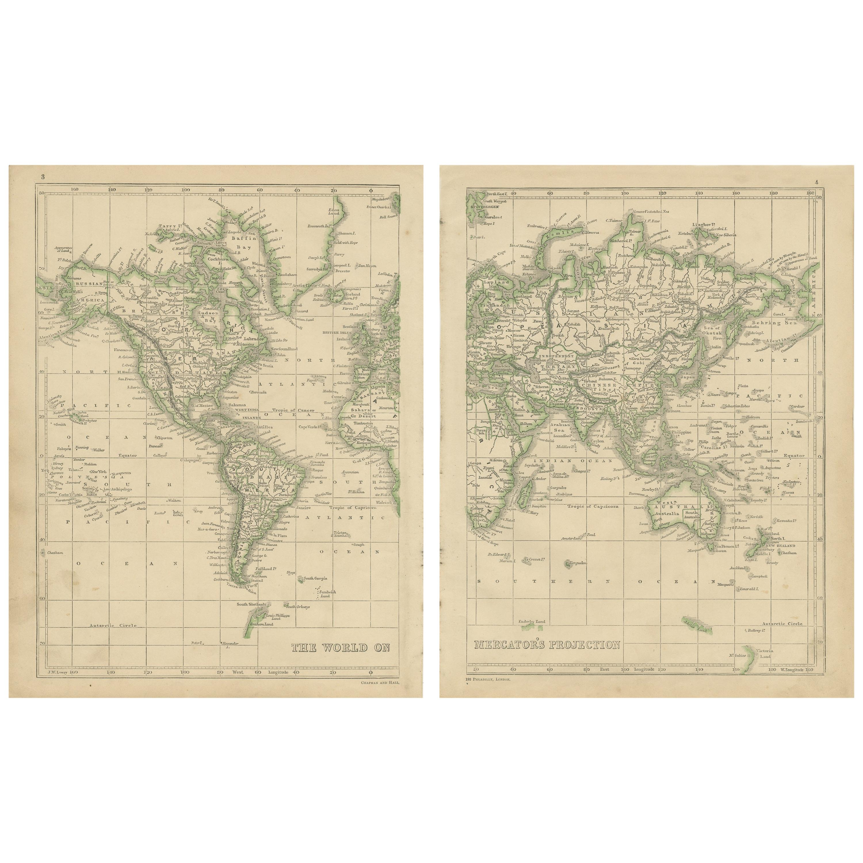 Antique Map of the World by Lowry, 1852