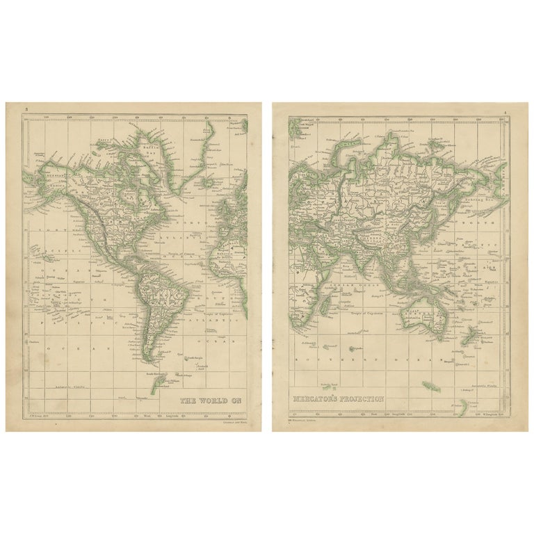 Antique Map of the World by Lowry, 1852 For Sale