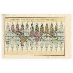 Antique Map of the World in 12 Globe Gores by Scherer, 'circa 1702'