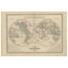 Antique Map of the World in Hemispheres by Johnson, '1872'