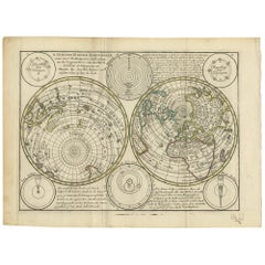 Antique Map of the World in Hemispheres by Keizer & de Lat, 1788