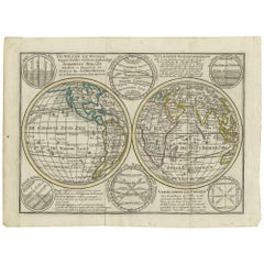 Antique Map of the World in Hemispheres with 6 Diagrams by Keizer & de Lat, 1788