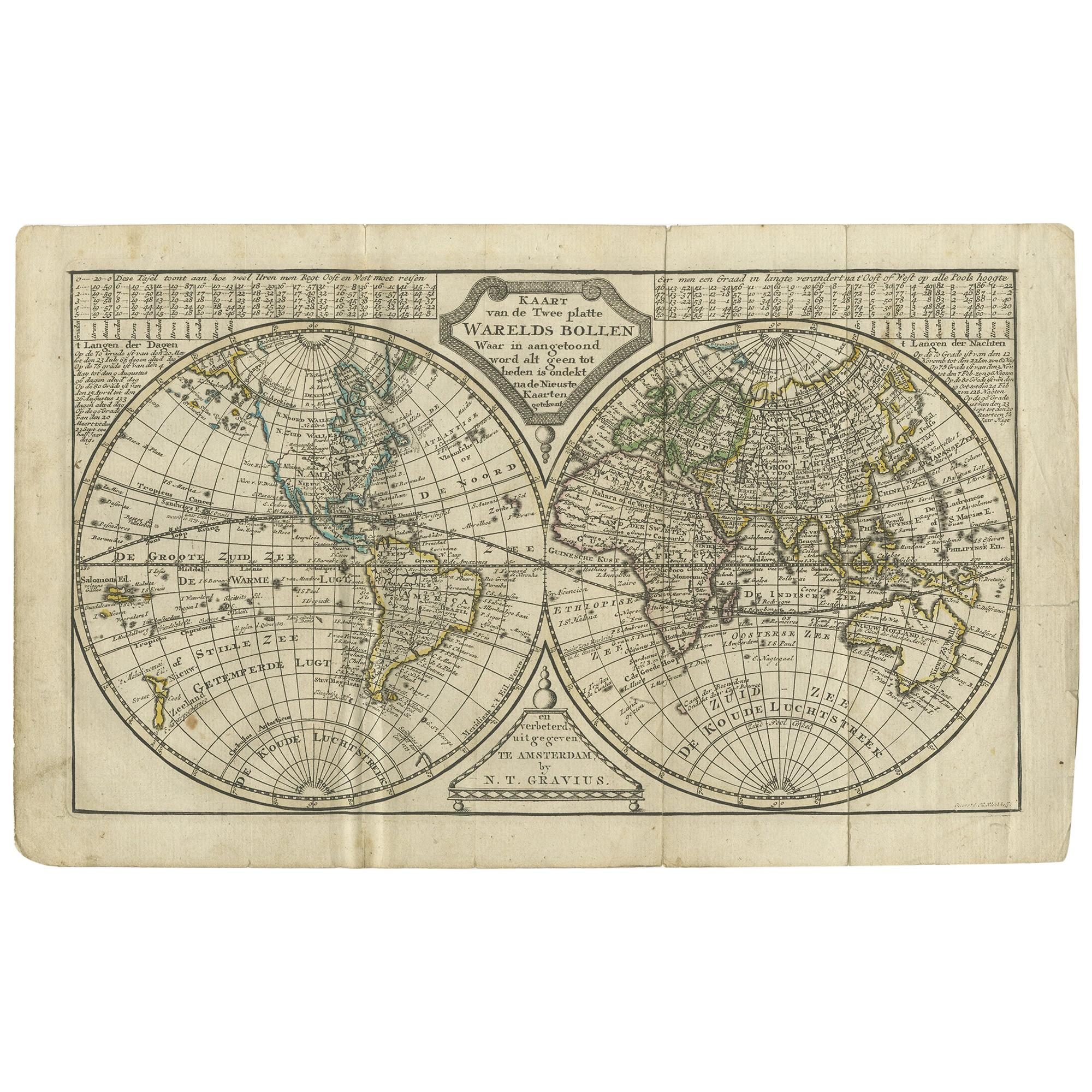 Antique Map of the World in two Hemispheres by Keizer & de Lat, 1788