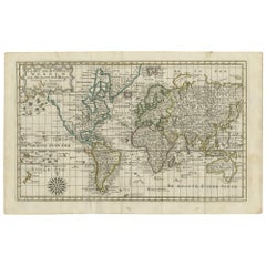 Antique Map of the World on Mercator's Projection by Keizer & de Lat, 1788