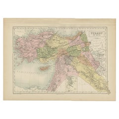 Antique Map of Turkey in Asia by A & C. Black, 1870
