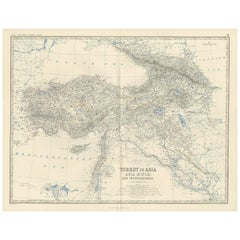 Antique Map of Turkey in Asia by A.K. Johnston, 1865