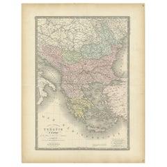 Antique Map of Turkey in Europe by Levasseur, '1875'