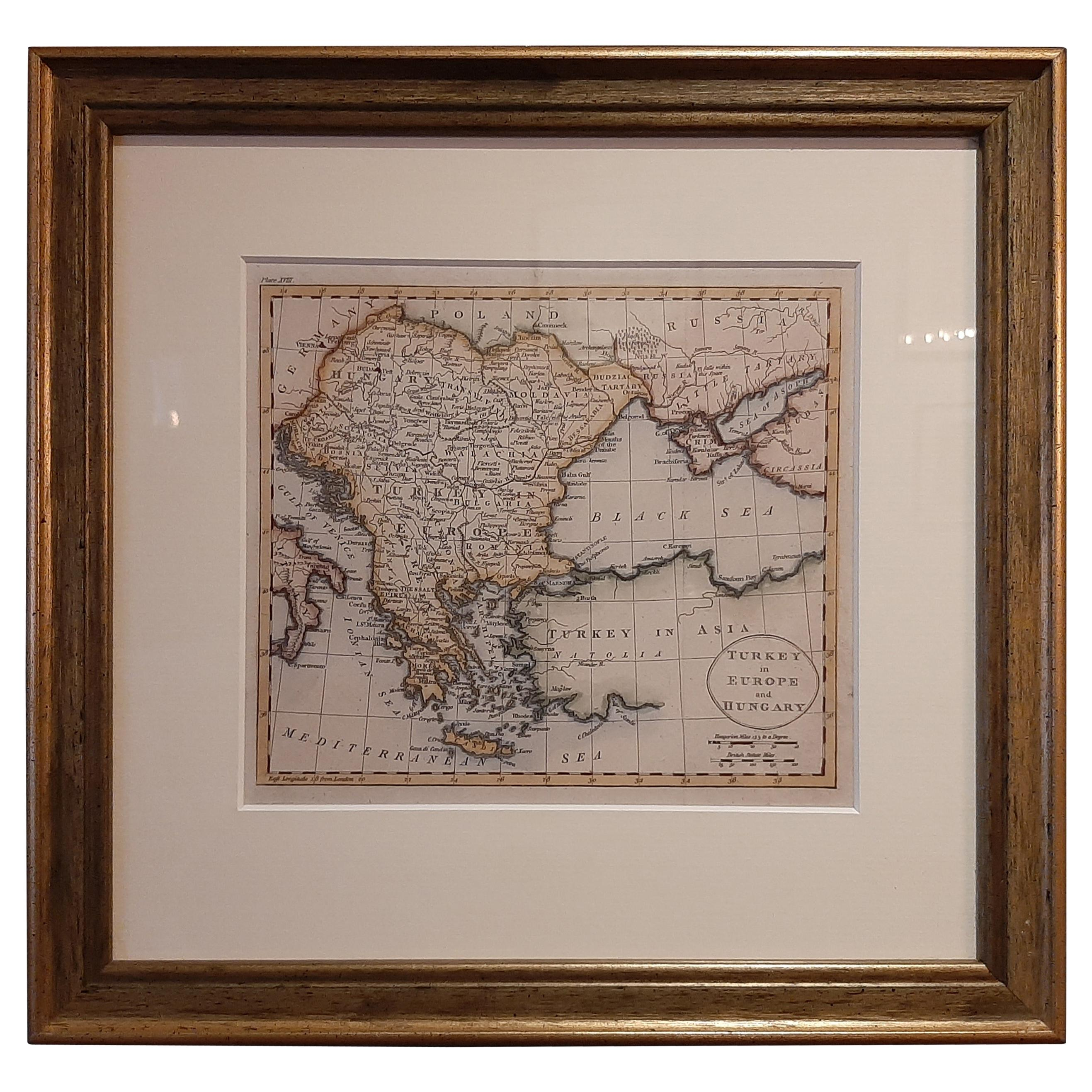 Antique Map of Turkey in Europe by Russell, circa 1795