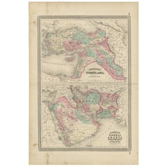 Antique Map of Turkey, Persia, Arabia, Balochistan and Afghanistan, 1872