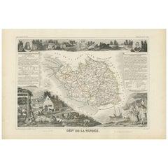 Antique Map of Vendée 'France' by V. Levasseur, 1854
