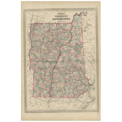 Antique Map of Vermont and New Hampshire by Johnson '1872'