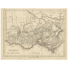 Antique Map of Victoria by Lowry, 1852