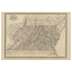 Antique Map of Virginia, Delaware, Maryland & West Virginia by Johnson, 1872