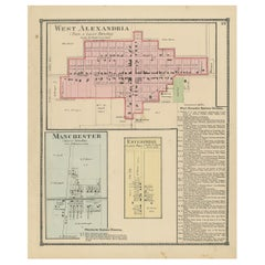 Antique Map of West Alexandria, Manchester & Enterprise, 1871
