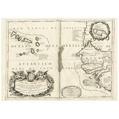 Antique Map of Western Africa and the Cape Verde Islands by Coronelli, 1691