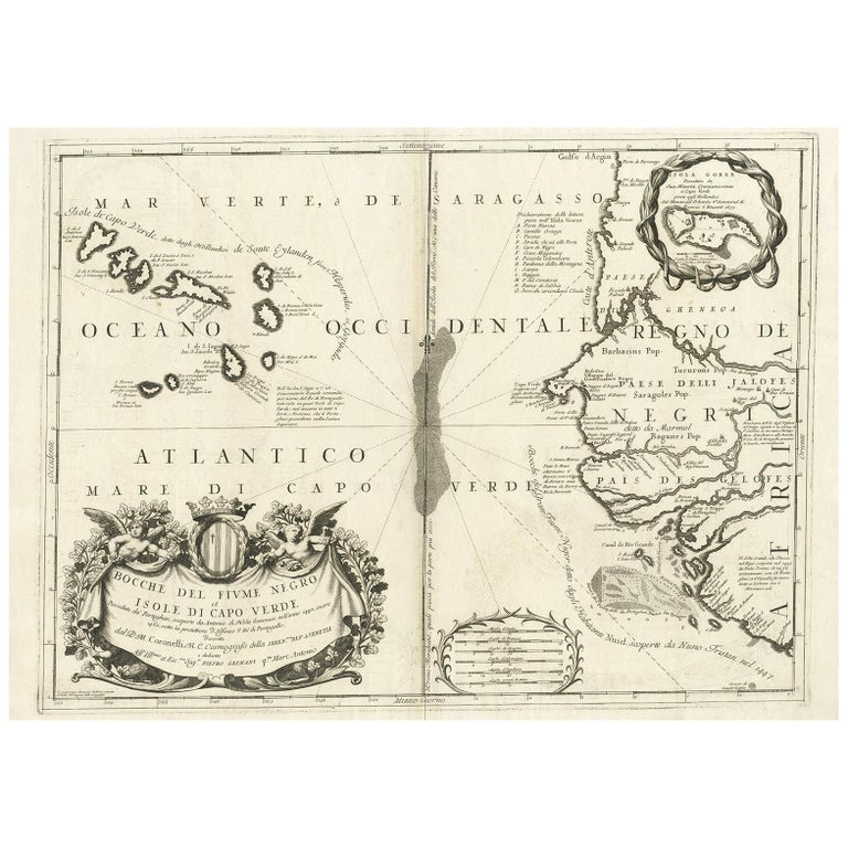Antique Map Of Western Africa And The Cape Verde Islands By
