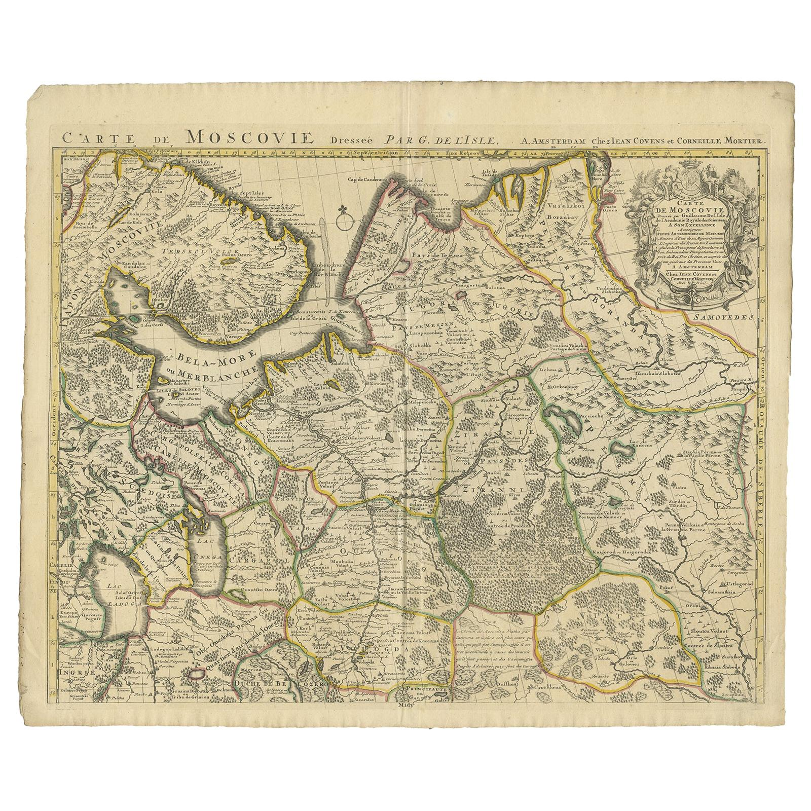 Antique Map of Western Russia by Covens & Mortier, 1740