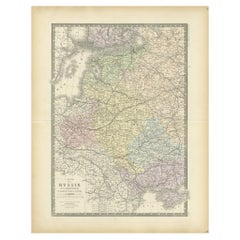 Antique Map of Western Russia by Levasseur, '1875'