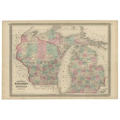 Antique Map of Wisconsin and Michigan by Johnson, 1872