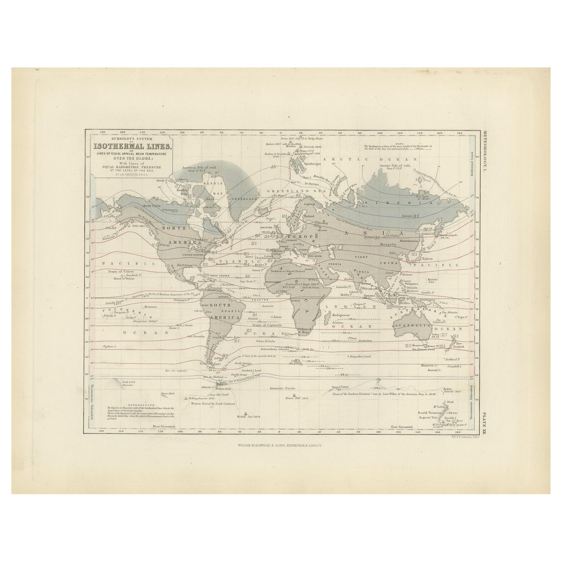 Antique Map showing Isotherm Lines throughout the World by Johnston '1850'