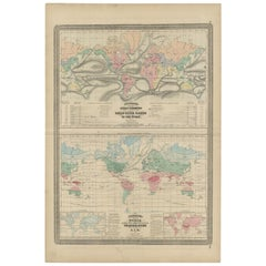Antique Map Showing the Ocean Currents and Temperature of Air, '1872'