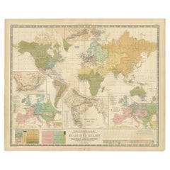 Antique Map Showing the Religions Around the World by Johnston '1854'