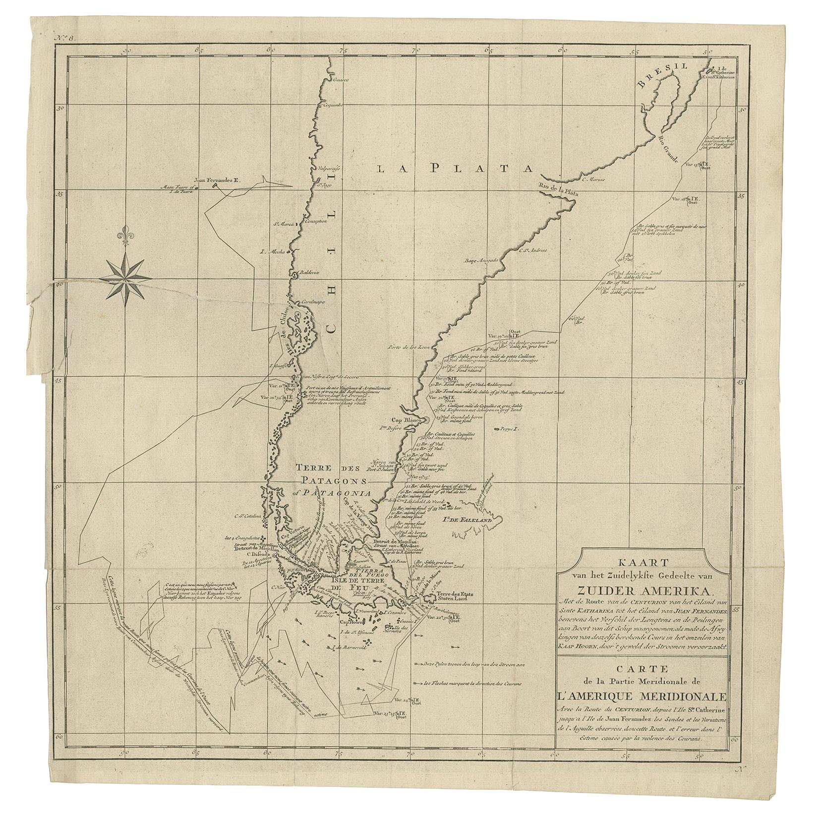 Antique Map of South America by G. Anson, 1749