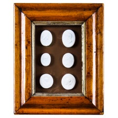 Antique Maple Framed Collection Grand Tour Classical Intaglios Early 19th C