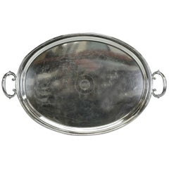 Antique Mappin Brothers Regency Style Silverplated Oval Handled Tray