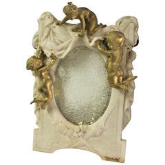 Antique Marble and Cherub Mirror, Doré Gold Finish Signed