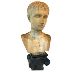 Antique Marble Bust of Young Caesar