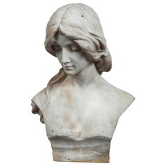 Antique Marble Bust Titled Poesia