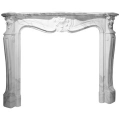 Antique Marble Fireplace Mantel Louis XV, 19th Century