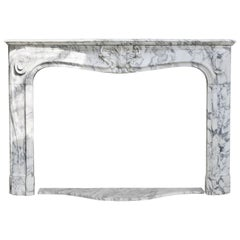 Antique Marble Fireplace of Arabescato Marble, Louis XV