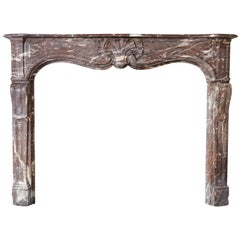 Antique Marble Fireplace of Rouge Royal Marble, Louis XV, 19th Century