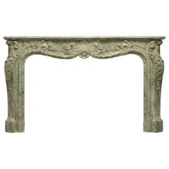 Antique Marble Louis XV Fireplace Mantel, 19th Century