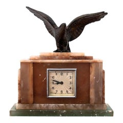 Antique Marble Mantel Clock with an Eagle, 1950s