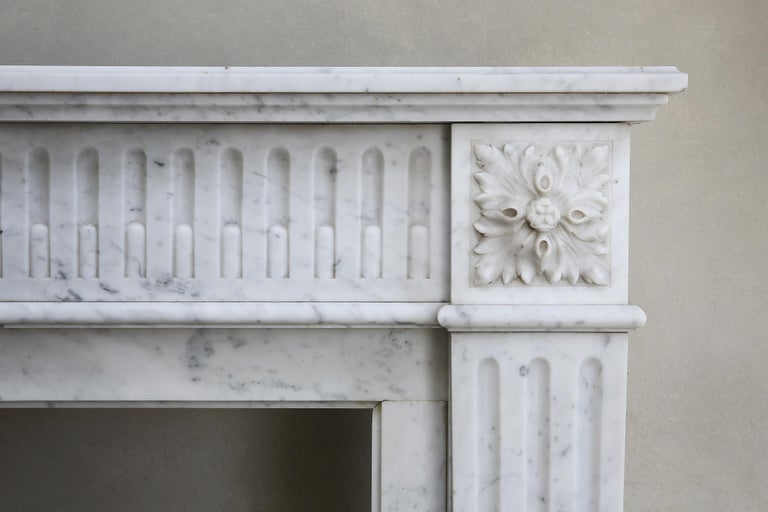 French Antique Marble Mantel Piece of Carrara Marble in Style of Louis XVI For Sale