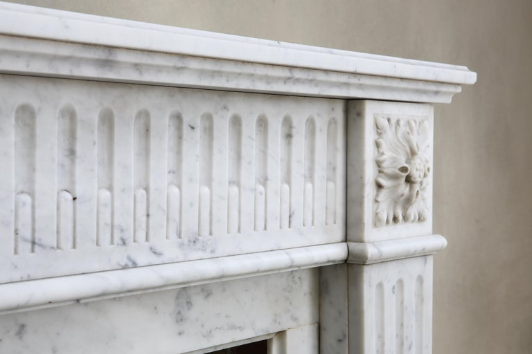 Other Antique Marble Mantel Piece of Carrara Marble in Style of Louis XVI For Sale