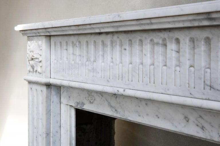 19th Century Antique Marble Mantel Piece of Carrara Marble in Style of Louis XVI For Sale