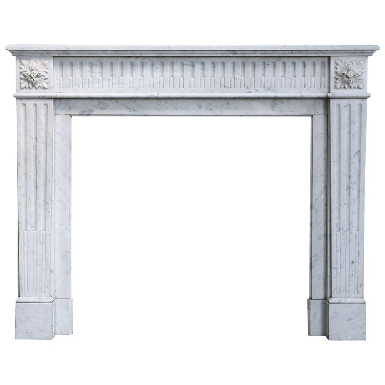 Antique Marble Mantel Piece of Carrara Marble in Style of Louis XVI For Sale