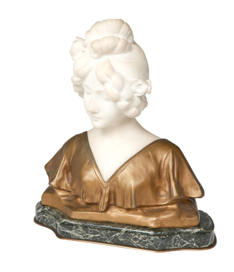 French Antique Marble Sculpture of Young Woman by Affortunato Gory, Paris