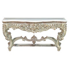 Antique Marble-Top French Rococo Console Table