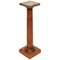 Antique Marble Top Pedestal Column