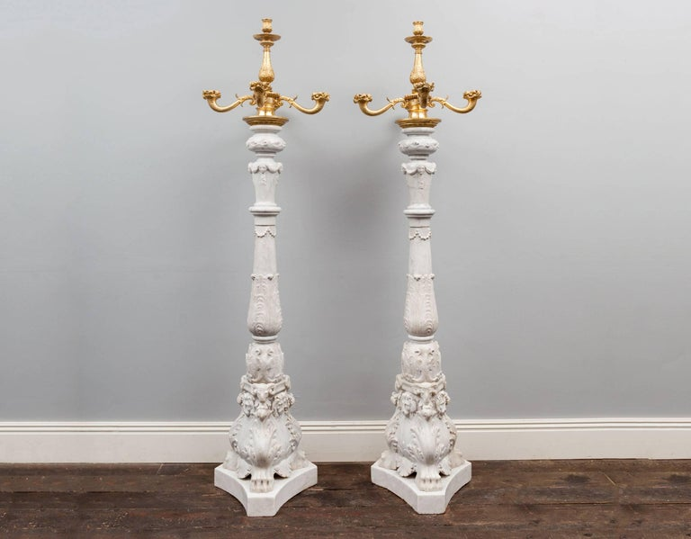 Carved Antique Marble Toucheres For Sale