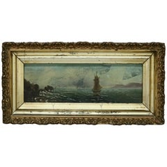 Antique Maritime Buttersworth School Oil on Panel Seascape Painting, circa 1890