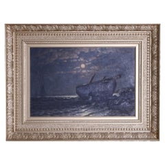 Antique Maritime Moonlit Shipwreck Oil on Canvas Painting by G.W. Waters