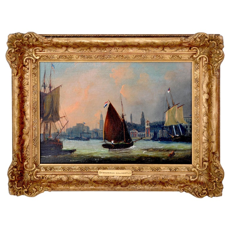 Antique Maritime Oil Painting, Frederick Calvert, circa 1830 For Sale