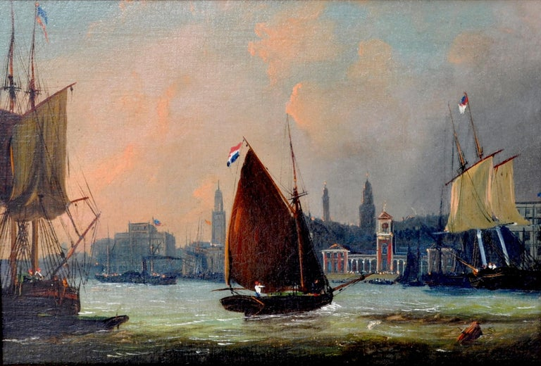 Antique maritime oil on canvas painting by Frederick Calvert (1785-1845). A good maritime painting by Calvert depicting sailing ships in an estuary, possibly a view of Greenwich from the Thames, circa 1830. Housed in the original gilded composition
