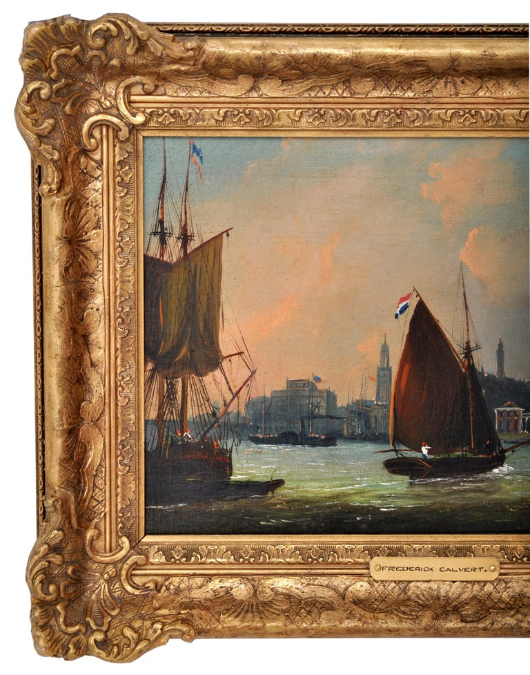 English Antique Maritime Oil Painting, Frederick Calvert, circa 1830 For Sale